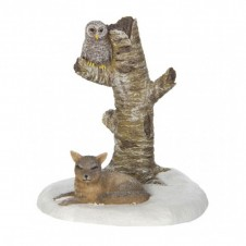 """Figurine """"Winter Owl and Fox"""" - LUVILLE"""