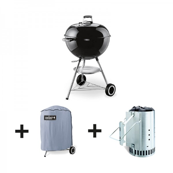 pack barbecue charbon original kettle 57 cm noir housse kit weber. Black Bedroom Furniture Sets. Home Design Ideas