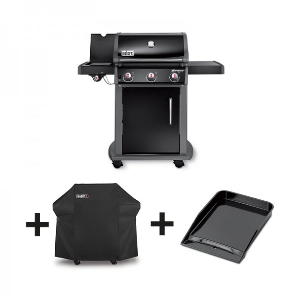 Pack barbecue gaz spirit original e 320 gbs noir for Housse barbecue weber spirit