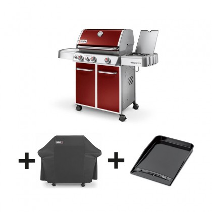 pack barbecue gaz genesis e 330 gbs rouge housse. Black Bedroom Furniture Sets. Home Design Ideas
