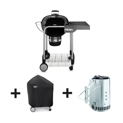 Pack barbecue charbon performer original gbs 57 cm noir for Cheminee exterieur weber