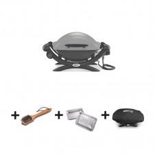 """Pack barbecue électrique """"Q1400"""" gris + barquettes + brosses + housse - WEBER"""