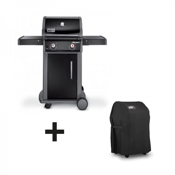 Pack barbecue gaz spirit original e210 noir housse for Housse barbecue weber spirit