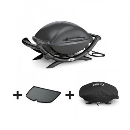 """Pack barbecue électrique """"Q2400"""" gris anthracite + plancha + housse - WEBER"""