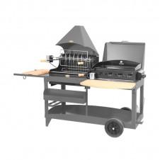 """Mixte plancha + barbecue """"Mendy-Alde"""" sur chariot - LE MARQUIER"""