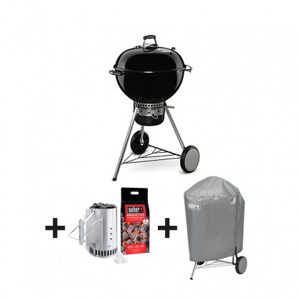 """Pack barbecue charbon """"Master Touch GBS"""" 57 cm - noir + kit cheminée + housse - WEBER"""