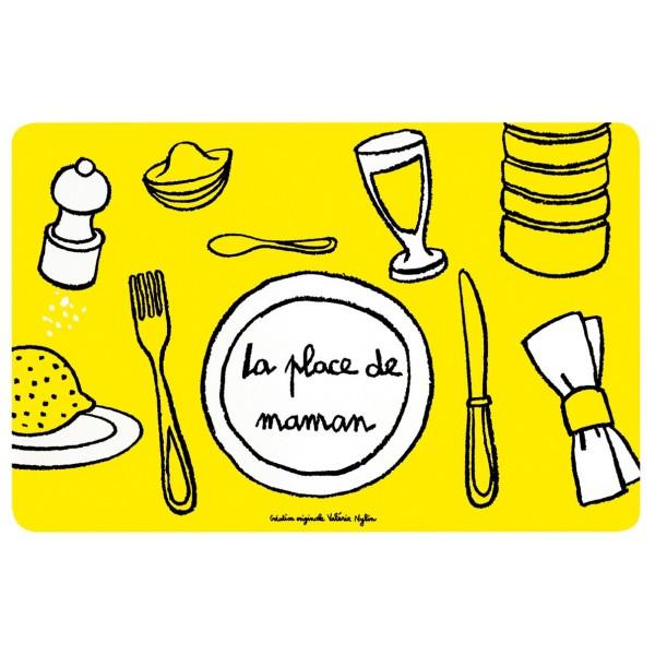 Set de table place de maman dlp jaune for Set de table jaune